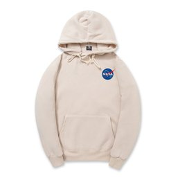 hollister hoodie Promo Codes - Autumn Hoodies Hip Hop Black White NASA Long Sleeve Hooded Hoody Mens Hoodies Sweatshirts Plus Size S-2XL