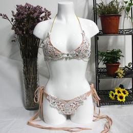 Lindo bikini de moda online-Bikini de encaje de las mujeres conjunto de moda de verano con estilo lindo traje de baño bikini dulce 2pcs traje de baño