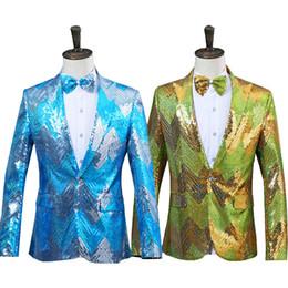 Costume vert brillant pour homme en Ligne-Nouveaux hommes graduel bleu vert paillettes brillant partie DJ chanteur spectacle de scène costume veste mariage bal performance Blazer conception