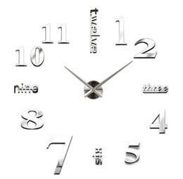 Stickers miroirs grand en Ligne-Nouveau 20pcs horloges à quartz de mode montres 3d real grande horloge murale se précipita miroir autocollant bricolage salon décor