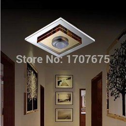 Wholesale Amber Knobs - Amber K9 crystal + Stainless Steel 170mm*170mm Mounted   Recessed square Ceiling lights for Plafond Dining Room