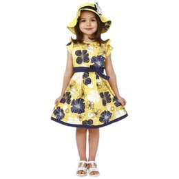 Matrimonio giallo spiaggia abito online-2016 Flower Girls Dresses Wedding Party Princess Vestidos Baby Dress Yellow Girl Dress con cintura Holiday Beach Sundress