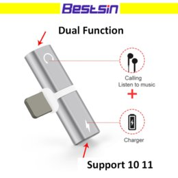 Wholesale Earphone Design - Bestsin Dual Adapter For Playing Music and Charging at Same Time Nice Smart Design Support 10 11 Free DHL Shipping