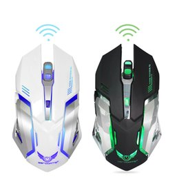 Wholesale rechargeable lithium button battery - Rechargeable Wireless Mouse 2400DPI Gaming Mouse 2.4G Built-in Lithium Battery Gamer 6 Buttons Gaming Mice