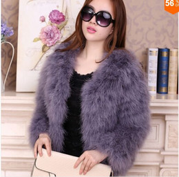 Wholesale Orange Women Fur Coats - Women 2017 Real Fur Coat Genuine Ostrich Feather Fur Winter Jacket Retail   Wholesale Top Quality