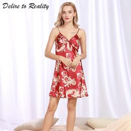 d25b077fe Camisón de Seda Impresa Chica Ropa de Dormir Señoras de Verano Sleepshirts  Vestido de Noche Sexy Vestido de Noche de Satén Para Las Mujeres DQ323  vestidos ...