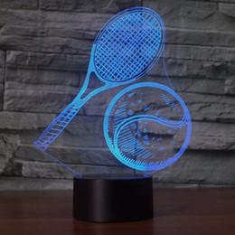 3D Tennis Night Light Touch Tavolo Scrivania Lampade da illusione ottica 7 Luci che cambiano colore Decorazione della casa Regalo di compleanno di Natale da lampada da tennis fornitori