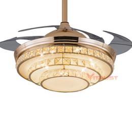 Lampada da soffitto a LED in cristallo Lampada da soffitto a luce invisibile da 42 pollici con telecomando 4 lame cheap crystal led light remote control da il cristallo ha condotto il controllo remoto leggero fornitori