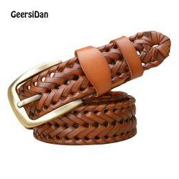 4851c634d18c GEERSIDAN Fashion Brand luxury designer Weaving belt women men high quality  genuine leather girdle breathable belt for jeans