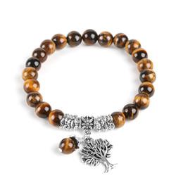 Wholesale rosary beaded chains - Natural Tiger Eye Lucky Gem Stone Tree of Life Bracelets 2018 Rosary Reiki Healing Energy Mala Yoga Beads Men Jewelry