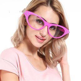 Große rahmenbrillen online-Lustige Brille Frame Ball Foto Prop Pink Cat Eye Brille große Partei liefert Geschenk kreative Fabrik direkt 8sfa V