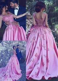 Wholesale trend evening dress - Glamorous Satin Scoop Neckline Evening Formal Dresses 2018 With Lace Appliques Latest Trends Ball Gown For Prom at Wholesale