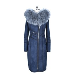 Wholesale Leather Fur Trim - Fashion New style 100% Faux leather Fox Collar large size Thickened Cold resistant winter blue Women coat Faux fur suedette long
