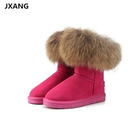 Frauen Schuhe Jxang Mode Kuh Wildleder Leder 100% Natürliche Fuchs Pelz Frauen Kurze Winter Knöchel Schnee Stiefel Für Frau Winter Schuhe Frauen Stiefel