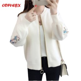 Wholesale uniform cardigan sweater - Boutique 2018 spring new knitted cardigan sweater Female short loose high-end embroidery baseball uniform coat women ODFVEBX