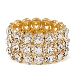 Wholesale Row C - Brand design Gold Color and Silver Plated Luxury Three Row Rhinestones Elastic line bracelet C rystal Bangles for women