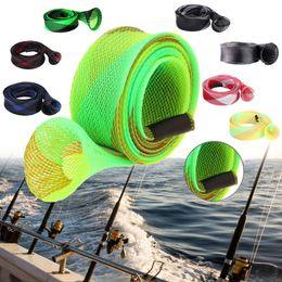 Wholesale Pole Rods - 8pcs lot 35mm 170cm Protector Bag Sheath Pole Sleeve Expanable Braided Mesh Fishing Rod Cover Jacket Wrap