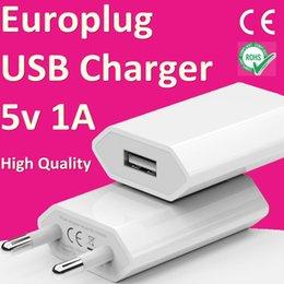 Canada Européen 2 Pins Plug USB 5V1A Adaptateur secteur UE Europlug Chargeur Murale Chargeur de Téléphone Portable CE RoHS Approuvé Pour iPhone iPod iPad Offre