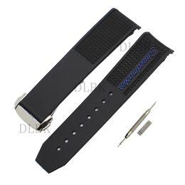 22mm hombres buzo negro correa de banda de reloj de pulsera de goma de silicona curvada banda de despliegue de hebilla de acero inoxidable para omega 326.32.40.50.01.001 desde fabricantes