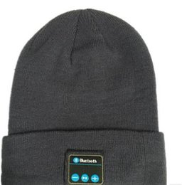 Wholesale Ipad Headset Microphone - Bluetooth Music Hat Soft Warm Beanie Cap with Stereo Headphone Headset Speaker Wireless Microphone for man support for iphone ipad MP3 ipod