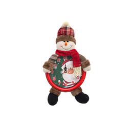 2019 niños guantes amarillos Feliz Navidad Decoraciones para el hogar 1 UNID Navidad Santa Forma de muñeco de nieve Reloj de pared colgante Reloj envío de DHL