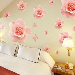 fiori di progettazione casa Sconti Grandi rose rosa fiori adesivi murali in vinile decorazioni per la casa fai da te soggiorno divano design 3d decalcomanie di arte decorazione della casa carta da parati