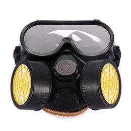 Wholesale Black Glass Paint - High Quality Safety Anti-Dust Spray Chemical Gas Dual Cartridge Respirator Paint Filter Mask PVC Glasses Set Black