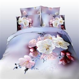 Wholesale Cotton King Size Comforters - 2017 4pcs 3D bedding sets bedroom cherry Peach blossom white pink flower duvet cover bedsheet pillow cases queen size bedlinen
