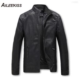 Мужские классические кожаные куртки онлайн-5XL Autumn Winter PU 100% Washed Leather Jacket Men Slim Classic Motorcycle Zipper Jackets Thicken Warm Mens Casual Coat XT295