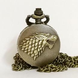 orologi d'inverno Sconti Piccolo orologio Wolf Winter sta arrivando Winterfell: House Starks Famiglia Emblem Quartz Pocket Watch Collana con ciondolo Uomo Donna Orologi