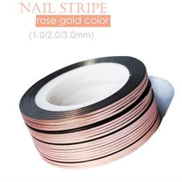 Wholesale gold nail strips - 10Rolls 1mm 2mm 3mm Glitter Striping Tape Rose Gold Self-Adhesive DIY Nail Art Tape Line Strips Striping For UV Gel Polish NSL03