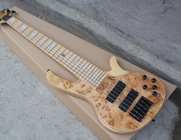 Wholesale Bass Guitar Natural Electric - Factory Custom Natural Wood Color 6 Strings Electric Bass Guitar with Maple Fretboard and Burl Lines Veneer,Black Hardware,Can be Customized