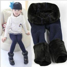 Wholesale 5t Girls Leggings - 2-7 years baby girl warm fleece leggings winter thicken brush kids tights children pants stocking outdoor sport leggings
