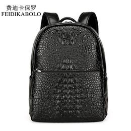 Wholesale pu leather rucksack backpacks - FEIDIKABOLO Fashion PU Crocodile Men's Backpack Male Leather Backpacks High Quality Student Bag Men Rucksack Bagpack mochila