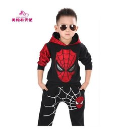 Wholesale boys spider costume - Children Clothing Sets 2017 Spring Autumn Baby Boys Hooded Spiderman Costume Pullover Kids Spider - Man Suit 2 3 4 5 6 7 Years