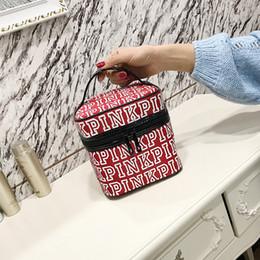 Wholesale tablet classic - Fashion PINK Makeup Bag Victoria Classic Love Pink Secret Cosmetic Bags Double Zipper Handbag Portable Storage Bag 17*17*17cm Free Shipping