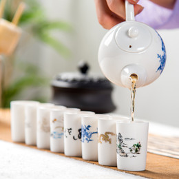Wholesale porcelain cup saucer set - Small Tea Bowl Smelling Teacup Sets Drink Tools Chinese Hand Painted Ceramic Teaset Kungfu Teaware Cups & Saucers D055