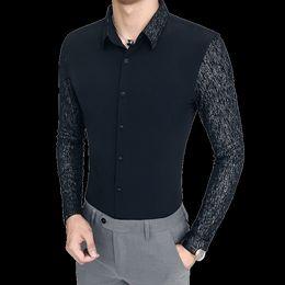 2019 stile bianco punto della camicia Camicia Casual Business di 2018 di nuovo stile uomini cucitura a maniche lunghe Camicie nero bianco sottile uomini eleganti sconti stile bianco punto della camicia