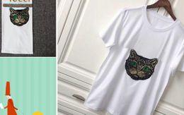 Wholesale Designer Shirts For Women - 2018 @Spring Summer best fashion luxury Brand for Women's T-Shirt Designer red green stripe letter tshirt cat paillette Runway Tees Casual
