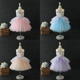 Wholesale embroidered headbands - Baby Girls Unicorn Dresses Headbands Sleeveless Embroidered 3D Unicorn Princess Gown Teenage Kids Wedding Dress Summer Performance Skirt