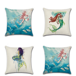 Wholesale Flax Color - Flax Fabric Watercolor Painting Pillow Case Beautiful Mermaid Design Cushion Cover Multi Color Pillowcase For Living Room Fun Decor 4 8kha Z