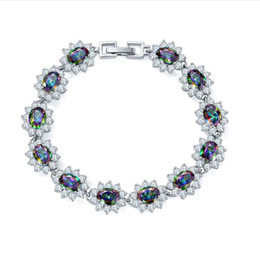 Wholesale fire stone crystal - Cuff Luckyshine 925 silver High Fashion natural Square Fire Multi-Colored maystic topaz stone high quality bracelet