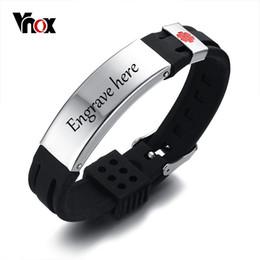 Браслет из нержавеющей стали 15мм онлайн-Vnox Free 15mm Medical Alert ID Identification Bracelet for Men Women Silicone Stainless Steel Watch Band Adjustable