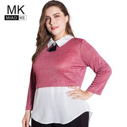 0977e64b87c31 Miaoke plus size womens t shirt clothes 2018 Fashion Doll collar long- sleeved stitching fake two pieces ladies tops 4xl 5xl 6x supplier doll  collar shirts ...