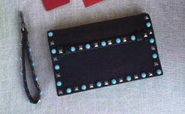 Wholesale Leather Studded Black Bag - AAAAA 28cm Rockstud Clutch Bag,Nappa Leather,Snap closure,Colorful studded front hand strap wrist strap with Dust Bag Box Receipt