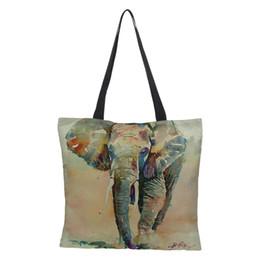 2019 bolsa de elefante de mulher CROWDALE Impressão frente e verso Elefantes de Linho Impresso Mulheres Grande Saco de Compras Tote Sholder Bag para Senhoras Bolsa de Linho desconto bolsa de elefante de mulher