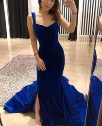 Wholesale Grace Sheath - Backless Sleeveless Mermaid Velvet Evening Dresses Sweep Train Royal Blue New Coming Elegant Prom Dresses Grace Evening Gown