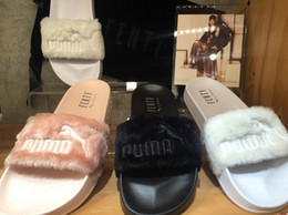 Wholesale White Gladiators - New Arrival Fenty Rihanna Shoes Women Slippers Brand Sandals Girls Pink Black White Grey Fur Slides High Quality designer sandals
