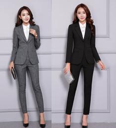 Escritório mulheres terno calças jaqueta on-line-Queda Suits Winter Fashion Preto Formal Blazer Mulheres Empresárias Pant e Jacket conjunto uniforme elegante escritório desenhos de estilo