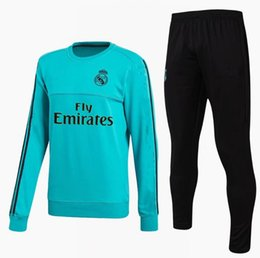 Wholesale Soccer Trainning - 17 18 real madrid tracksuit training sweater suit long pants 2017 2018 real madrid trainning sweater top set jacket RONALDO chandal suit